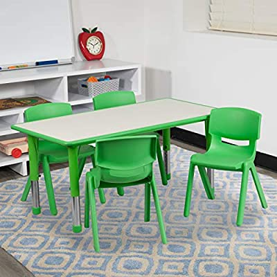 Flash Furniture 23.625''W x 47.25''L Rectangular Green Plastic Height Adjustable Activity Table Set with 4 Chairs by Flash Furniture