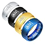 JAJAFOOK 4PCS/Set, 316L Stainless Steel Muslim Allah Islam Ring Allah Symbol Islamic Scripture Engagement Band Wedding Ring, 9