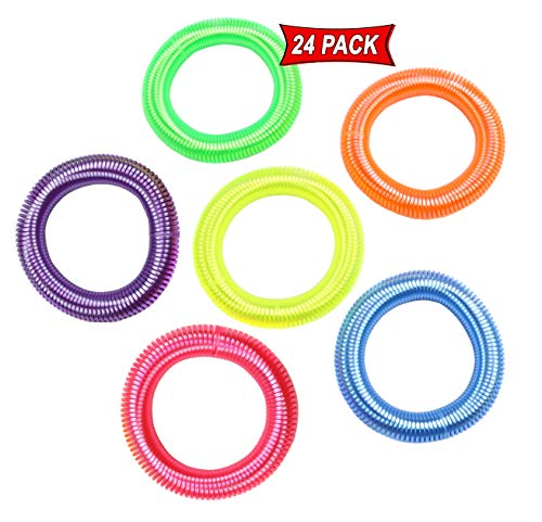 Neon Spring Bracelets For Party Favors And Prizes - Neon Bracelets Pack Of 24 In Assorted Neon Colors - Elastic Coil Bracelets For Kids