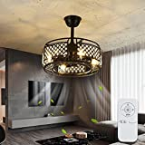 IYUNXI Ceiling Fan with Lamps Black Iron 20 Inch Caged Adjustable 3 Wind Speeds Remote Control Low Profile Chandelier Ceiling Fan Lamp Fixture Flush Mount (4X E14 Bulb Base, Replaceable Light Bulbs)