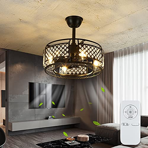 IYUNXI Crystal Ceiling Fan with LED Light Black Iron 20 Inch Caged Dimming...