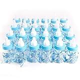 Surepromise 24er Blau Milchflasche Babyflasche Baby Taufe Geburt Babyshower Party Tischdeko Gastgeschenke