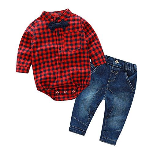De feuilles Chic-Chic Ensemble Garçon Bébé 2pc Combinaison Chemise Carreau + Pantalons Jeans Pull Longues Manches Haut Rouge 0-6mois