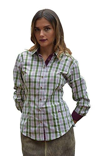 Arido Damen Trachtenbluse grün-Bordo 6858 2334 64 (40)