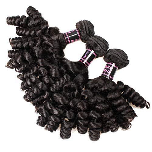DECJ Brasilianische Funmi Human Hair 3 Bundles Kurz Funmi Curly Weave Loose Wave Hair Bundles Spiral Bouncy Curls Remy Brazilian Hair Weaves Natural Color,12inch