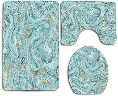 Azurite Teal and Foil Gold Oil Marble Pattern Style Design Bathroom 3 Pieces Set (1 Bath Rug, 1 Contour Mat, 1 Lid Cover) with Non-Slip Rubber Backing