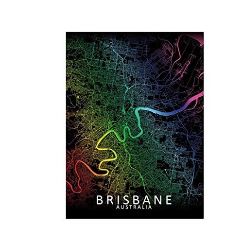 TheHua 5D Bricolaje Cruz Puntada Cristal Bordado Diamantes Pintura Kit Rainbow Map Full Drill Brisbane City Diamond Mosaic Art Decor-40X50cm