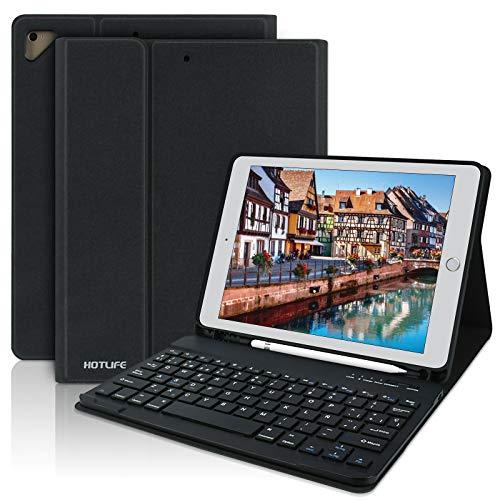 Funda con Teclado Español para iPad 2018(6th Gen)/iPad 2017/iPad Pro 9.7/iPad Air 2/1, Funda iPad 9.7 con Ranura para Lápiz-Teclado Bluetooth Inalámbrico Incorporado-Cubierta Magnética Delgada (Negro)