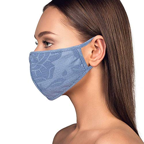 Cloth Face Mask Washable with Filter Pocket - Fashionable Women Designs are Washable, Breathable and Reusable - Soft Cotton Blend for Comfortable Protective Covering - Made in USA (Floral Blue)
