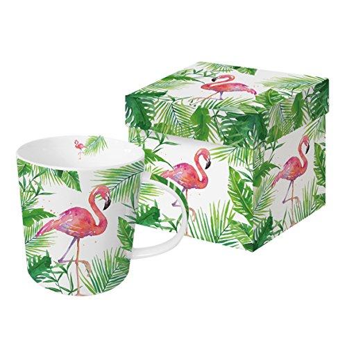 PPD Tropical Flamingo Trend Kaffeebecher, Kaffeetasse, Kaffee Becher, Bone China, Weiß / Grün / Pink, 350 ml, 603264