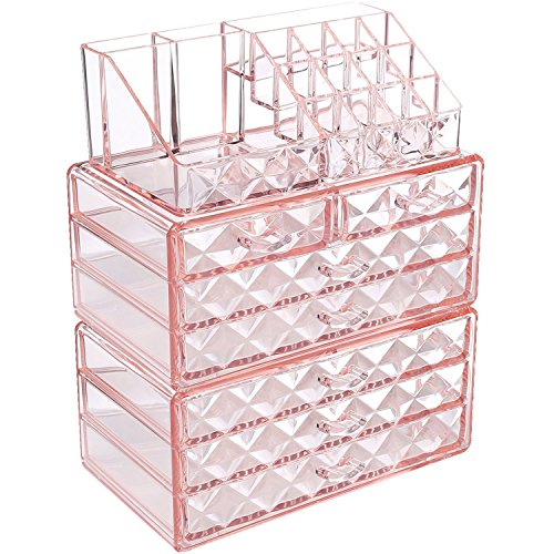 Ikee Design Diamond Pattern Jewelry Cosmetic Storage Display Boxes, 3 Pieces Set, Cosmetic Jewelry Organizer Makeup Holder, Cosmetic Holder 9 3/8W x 5 3/8D x 11 3/5H, Pink