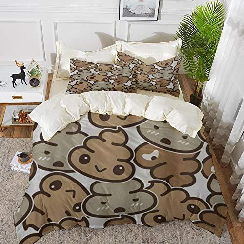 Duvet Cover Set, Bed Sheets, Poo,Microfibre Duvet Cover Set 240 x 260 cmwith 2 Pillowcase 50 X 80cm