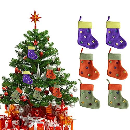 Fkxczn Botones Medias navideñas Bolsas Colgantes 6 Piezas, Medias navideñas, Decoración de Calcetines navideños, Bolsa de Dulces de Regalo, Decoraciones para árboles de Navidad Bolsas de Regalo