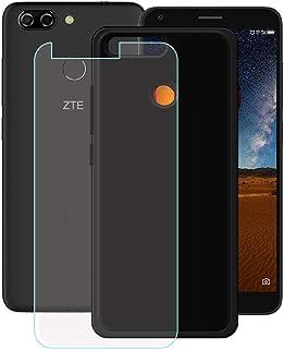 YZKJ Mobilskal för ZTE Blade V9 Vita Cover svart mjukt silikon skyddsskal TPU skal Case pansarglas skärmskydd för ZTE Blad...