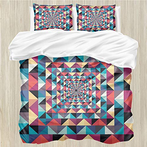 LanQiao Contemporary,Duvet Cover,Modern Style Visual Patchwork...