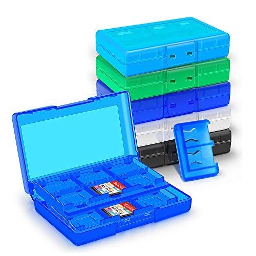 KUEEN Genrics Funda para Almacenamiento de Juegos para Nintendo Switch, para hasta 24 + 2 Juegos de Conmutador Nintendo, Estuche para Almacenar Game Cards (Light Blue)