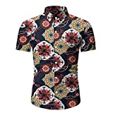 LSSM Camisas De Playa para Hombre Camisas Estampadas De Manga Corta Larga Camisas Sueltas Color SóLido Blusa con Cuello En V Blusa Regular Corte Regular Camisa De Lino Rojo 2XL