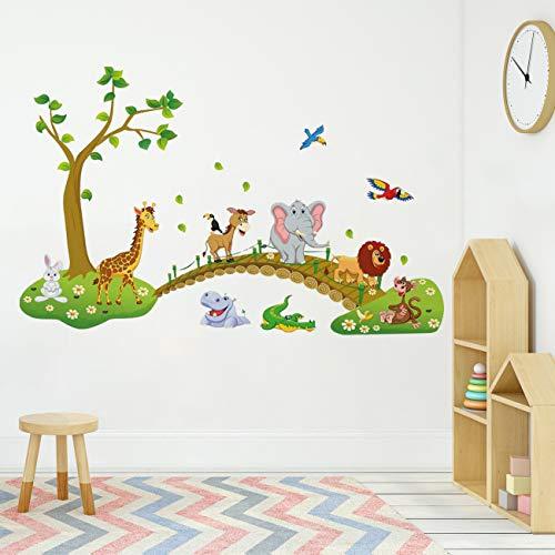 Runtoo Pegatinas de Pared Infantiles Stickers Adhesivos Vinilo Animales Jungla Decorativas Mono Jirafa Elefante Habitacion Bebe
