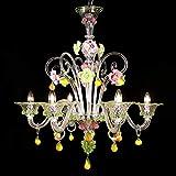 Zara Model - Lámpara de techo de Murano con 6 luces - Cristal decorativo rosa y verde | Zara Model - 6 luces - Crystal, pink and green decoration