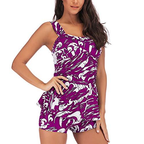 Hink-Clothing Traje de baño para Mujer, Conjunto de Tankini con Pantalones Cortos de niño, Sujetador Push-up Acolchado, Traje de baño para Mujer Control de Barriga Morado Morado (5X-Large