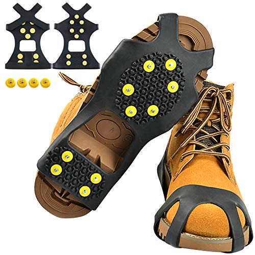 Sfee Ice Cleats Snow Grips Overshoes Boots, Anti-Slip Silicone Portable Walk Traction Cleats Stainless Steel Spikes for Walking, Jogging, Hiking, Climbing, Fishing, Running, Men, Dog, Kids(XL)