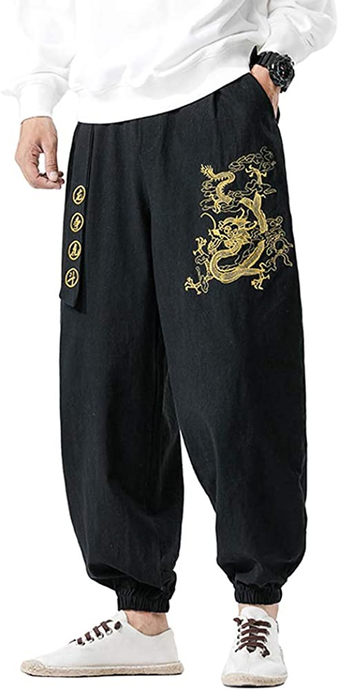 HAORUN Men Chinese Vintage Pants Dragon Cheap super special Memphis Mall price Loose Embroidery Casual