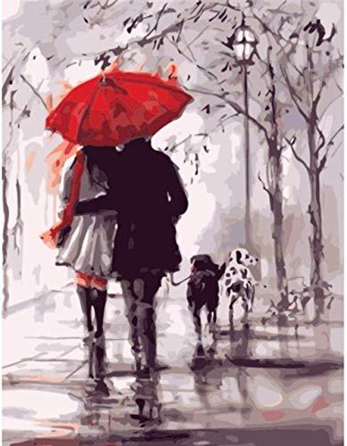 LSDEERE DIY Leinwand Ölgemälde Romantik Wind Und Regen Landschaft Roter Regenschirm Malen Nach Zahlen Für Erwachsene Anfänger Kreatives Gemälde Auf Leinwand 40X 50 cm