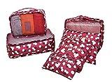 Kenebo Sac À Main Organisateur Sac De Stockage De Bagages Sac 6 Pcs/Set Vêtements Organisateur Sac Cubes d'emballage Vin Rouge 6 Packs
