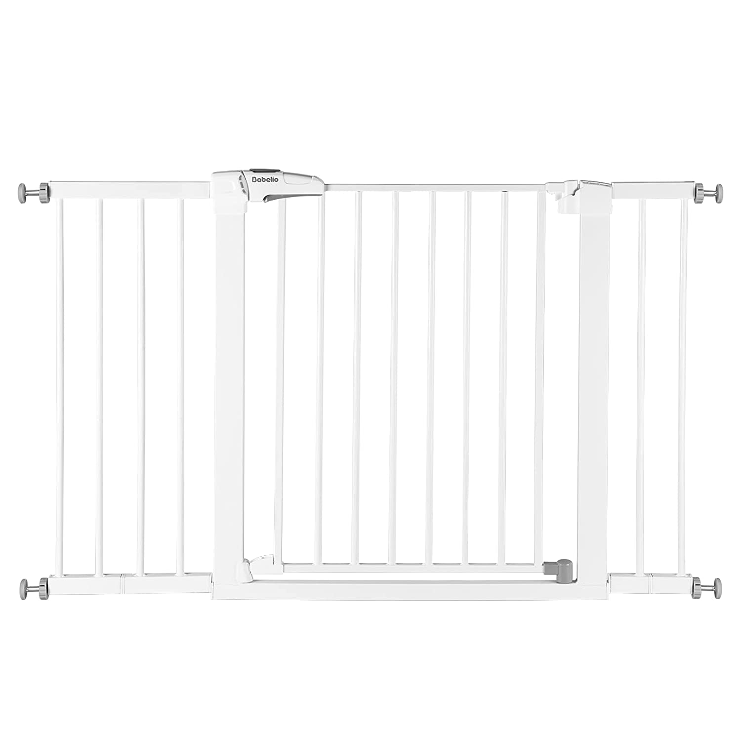 BABELIO Metal Baby Gate Dog Gate 29-48 Inch Extra Wide Pet Gate for Stairs & Doorways, Pressure Mounted Walk Thru Child Gate with Door, NO Need Tools NO Drilling, with Wall Cups