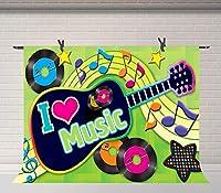 HD 7x5ft音楽背景ロマンチックなギター音楽ノート背景音楽愛好家写真の背景パーティー用品スタジオ装飾ブース小道具BJLSFU69
