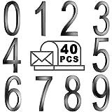 40 Numeri di Cassetta Postale 0-9 Numeri di Indirizzo Autoadesivi Numeri di Porta Riflettenti Segni di Cassetta Postale per Casa Mailbox Appartamento (2 X 1,4 Pollici, Nero)