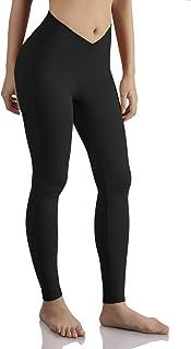 ODODOS Women's Mid Waisted Tummy Control Yoga Pants,Full-Length Leggings with Inner Pockets