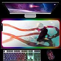RGBゲーミングマウスパッド東京喰種トーキョーグールアニメゲーミングマウスパッド大型LEDマウスパッド滑り止めラバーベース、14個の照明モード900x400x4mm A
