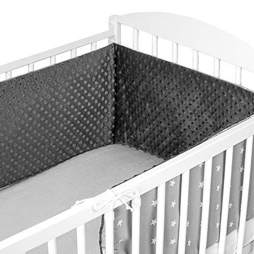 Bettumrandung Nestchen Babybett 60x120 umrandungen - babybettumrandung Bettnestchen für Kinderbett Beistellbett Gitterbett 180 x 30 cm Baumwolle-Minky