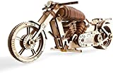 Julykai Développer la Sagesse Moto en Bois à Construire - Kit de Bricolage - Moteur élastique et Grande Roue arrière - Idée Cadeau pour motards-258 * 84 * 105 MM