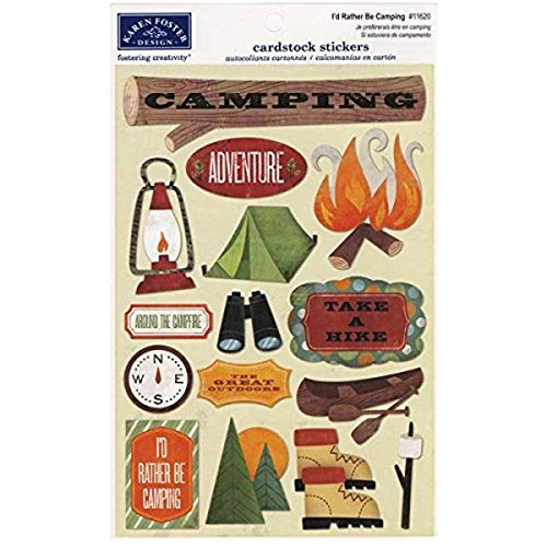 KAREN FOSTER Design Acid and Lignin Free Scrapbooking Sticker Sheet, I'd Rather be Camping