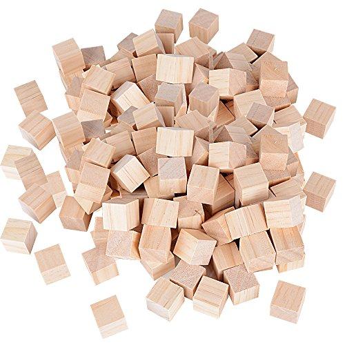 DEOMOR 100 Stück Holz Würfel 20mm Holzwürfel Blanko Deko Holz Basteln Bastelmaterial Holz Quadrat Würfel Natur Deko zum DIY Basteln Malen DIY Handwerk Dekoration