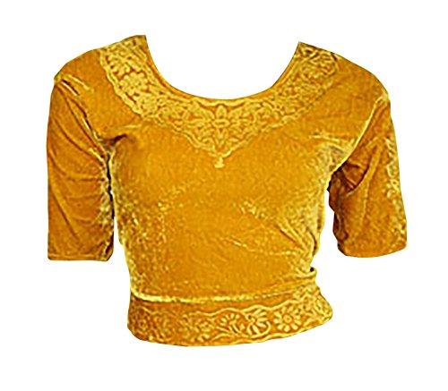 Trendofindia Trendofindia Gold Choli (Sari Oberteil) Samt Gr. 50 Gr. 3XL XXXL ideal für Bauchtanz