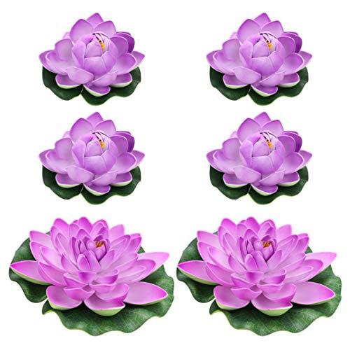Balacoo 6 Stks Kunstmatige Drijvende Lotusbloemen Realistische Kunstbloemen Voor Tuin Zwembad Aquarium Drijvende Vijver Decoratie 4 Stks Maat L en 2 Stks Maat M (Violet)