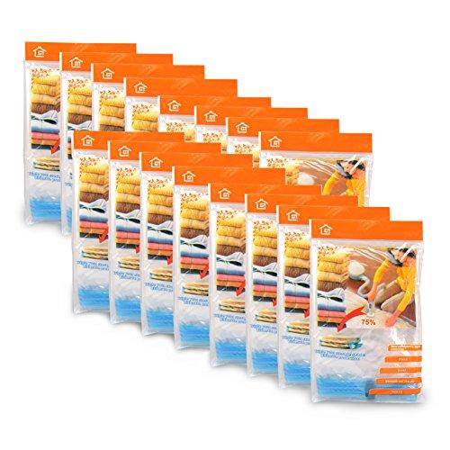 Incutex Universal Vakuumbeutel Mix-Set 16 Stück verschiedene Größen, platzsparende Aufbewahrung von Kleidung