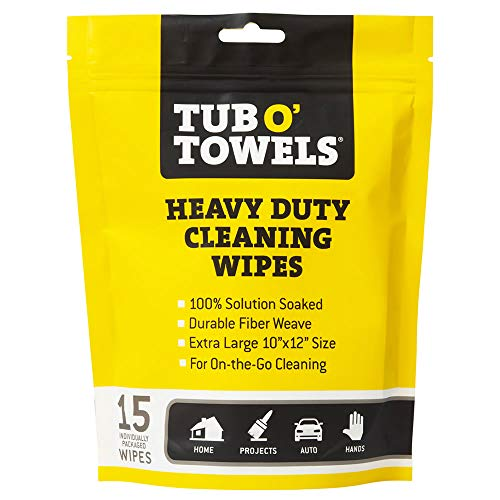 Tub O Towels Heavy Duty Cleaning Wipes, Individually Wrapped Multi Surface Wipes, Remove Grease, Dirt, Grime and More, 15-Pack