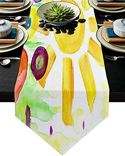 VJRQM Chemin de Table Long Pâques Printemps Soleil Fleur Toile de Jute Chemin de Table 90 Pouces de Long pour extérieur intérieur Ferme Vacances Rassemblement Banquet fête d'anniversaire dîner