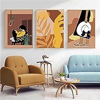 アートワークキャンバス絵画ミニマリスト抽象少女壁アートポスター葉花線画アートプリント北欧の家の装飾-(50X70cm)X3フレームなし