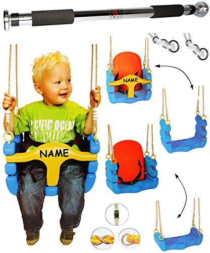alles-meine.de GmbH 2 TLG. Set: Türreck + mitwachsende - Babyschaukel / Gitterschaukel mit Gurt - incl. Name - Kinderschaukel ab 1,5 Jahre - mit Rückenlehne & Seitenschutz - Scha..