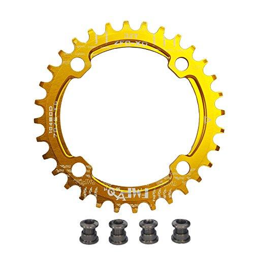 UPANBIKE Bike Schmal Breit Kettenblatt 104 BCD Runde Form Single Kettenblätter 32T(Gold)