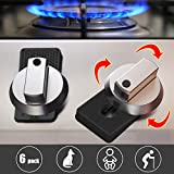 Kitchen Stove Knob Locks, Kids Safety Oven Knob Lock Heat Resistant Silicone Gas Knobs Locks 6 Pack Oven Rotary Switch Cooking Surface Control Locks for Baby Child Toddler Pets Safety (Black)
