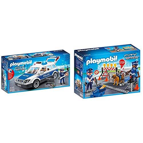 Playmobil City Action 6920 - Auto Della Polizia, Dai 4 Anni & City Action 6924 - Posto Di Blocco Della Polizia, Dai 4 Anni