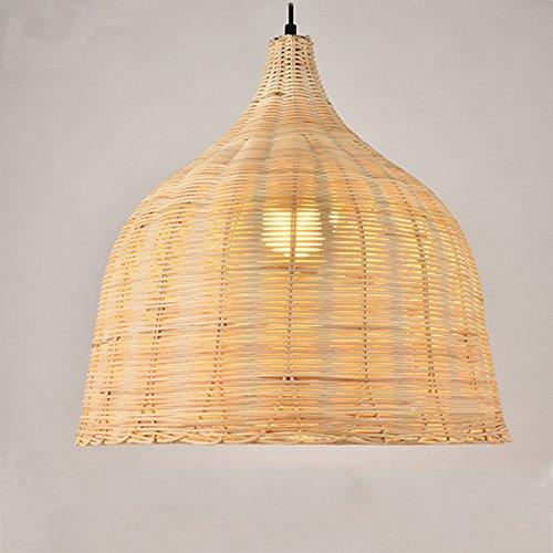 Lampenkap retro van echt natuurlijk materiaal rotan, moderne designer hanglamp decoratieve lamp handgemaakt 26x26cm E27 (zonder gloeilamp)