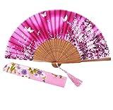 STHUAHE 21 cm Sakura Mariposa Danza Juntos Pintado a Mano Mujer Seda Plegable Ventiladores con una Funda de Tela para protección, Estilo Retro...