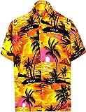 LA LEELA Casual Hawaiana Camisa para Hombre Señores Manga Corta Bolsillo Delantero Surf Palmeras Caballeros Playa Aloha XXL-(in cms):137-149 Calabaza Naranja_W32